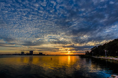 The Sunset (satochappy) Tags: sunset orange blue sky river sydney nsw australia parramattariver riverbank      clouds mackerelsky