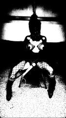 No grey: Patience (martinmmyrhaug) Tags: blackandwhite monochrome bdsm bondage fetish wand fishnet higheels blindfold rope boobs