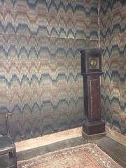 Chastleton House closet with cloth lining (genibee) Tags: closet textile chastletonhouse chastleton england clock tallcase