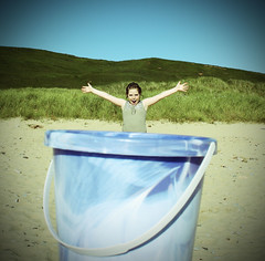 Miss Bucket (stickywilly) Tags: beach bucket westport forcedperspective kintyre