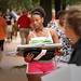 Student waits for her mother to lock up the car as she moves into her residence hall Friday afternoon.MOVEIN.2012.1690