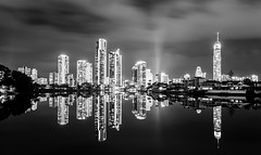 Surfers Paradise or Gotham City II? (James.McGregor) Tags: city longexposure blackandwhite bw storm misty fog night canon dark landscape photography james moody cityscape nightscape australia monotone queensland surfersparadise goldcoast 1740l mcgregor 5dmk2