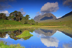 Liathach Reflected. (Gordie Broon.) Tags: liathach reflections lochclair torridon kinlochewe westerross scotland cloudreflections schottland escocia ecosse scenery gordiebroon photography landscape mountain munro thegreyone scotspines summer scenic nature scottishwesternhighlands scottishhighlands alba geotagged annat midges trees canoneos7d water morning shadows bestcapturesaoi