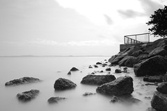 (Wolfics) Tags: bw beach speed canon coast singapore long exposure slow 10 wideangle stop filter shutter changi 450d nd110