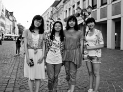 Chinese rally fans in Trier (55Laney69) Tags: china street city girls friends blackandwhite bw cute girl monochrome germany asian happy blackwhite pretty girly rally chinese olympus tourists wrc pancake fans trier 2012 adac asiasociety blackwhitephotos epl1 lumix14mmf25