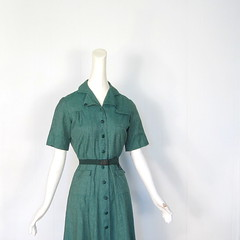 late 1940s / 1950s Girl Scout uniform dress, designed by Mainbocher (Small Earth Vintage) Tags: green vintage belt clothing women uniform dress 1940s 1950s girlscouts scouting mainbocher smallearthvintage
