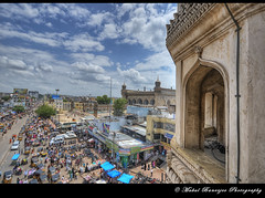 View from Charminar, Hyderabad (Mukul Banerjee (www.mukulbanerjee.com)) Tags: world city sky sculpture india art heritage history classic tourism monument beautiful beauty architecture clouds photography photo high nikon colorful asia artist cityscape arch pics minaret muslim islam culture cityscapes arches landmark tourist photographs ap limestone historical sultan dslr hyderabad andhra minar cultural medival bharat islamic southindia shah craftsmanship pradesh charminar antiquity qutab adilshah d300 shahi sigma1020mm historicindia quli banerjee historicalindia 1591 indianheritage hindusthan medivalindia bymukulbanerjee mukulbanerjee banerjee mukulbanerjeephotography mukulbanerjeephotography wwwmukulbanerjeecom wwwmukulbanerjeecom muhhammad