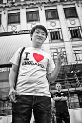 I  England (tootdood) Tags: street blackandwhite colour sign manchester peace tshirt piccadilly selective  emblems canon600d iengland