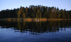 Friday morning fisherman (Basse911) Tags: morning trees sea water reflections suomi finland island boat fishing fisherman august hanko hang