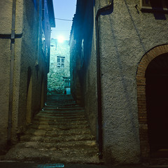 (John Erik) Tags: light italy green 120 6x6 tlr film stone night mediumformat square fuji village bricks steps 400 tuscany provia xenotar rolleiflex35f