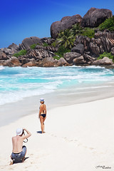 Taking pictures on the tropic beach (FranZambon) Tags: beach model paradise dream lifestyle palm tropic whitesand ladigue seychelle ansecocos rememberthatmomentlevel1 rememberthatmomentlevel2