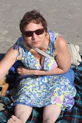West Wittering Wonderful As Always - Sept 2012 - Wife Busting Out All Over (gareth1953 Cataract Creating Chaos) Tags: summer portrait beach beautiful sunglasses dress barefoot wife shorthair barefeet cleavage bigtoe westwittering downblouse palelegs wrysmile eoshe strokingthedog