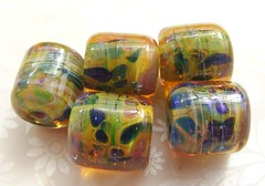 Undercover (Glittering Prize - Trudi) Tags: green art glass beads handmade barrel jungle lampwork artisan undercover