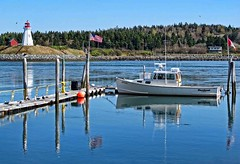 View of Mulholland Point Lighthouse from Lubec, Maine. (PhotosToArtByMike) Tags: seascape canada me maine scenic lubec lightstation campobelloisland landscapephotograph lubecnarrows mulhollandpointlighthouse