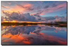 Rorschach Says Hello (Fraggle Red) Tags: morning nature clouds sunrise reflections landscape dawn bravo florida wetlands boardwalk hdr boyntonbeach naturecenter 5exp calmmorning greencay greencaywetlands canonef1635mmf28liiusm dphdr palmbeachco canoneos5dmarkiii 5d3 5diii