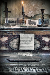 Melancholy Tones (Day Of The Dead - Rebecca Litchfield) Tags: old music dayofthedead candle decay exploring bull sheetmusic candlestick ue manorhouse urbex oldwall oldpiano abandonedmanorhouse oldcandle furhouse bullmanor decayedpiano bullmanorhouse
