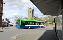 Notts & Derby 600 (Lady Wulfrun) Tags: church solar derbyshire may 4th saturday stanley 600 marketplace wright scania departing ilkeston stmarys 2013 l94ub nottsderby b43f felixbusservices yn05gzb