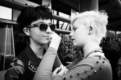 All Made Up With Studs And Rainbows (Shot In The Street) Tags: streetphotography portrait lgbt candid black street bristol monochrome blackandwhite bw white mono pride2016 studs