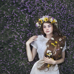 A heart sewn of flowers (Rob Woodcox) Tags: surreal flowers beauty model canada field meadow nature peace peaceful girl dress white whitedress daisies young redhead red hair redhair longhair flower crown flowercrown robwoodcox robwoodcoxphotography nadiasmith pei princeedwardisland landandsee purple yellow