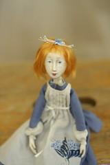 Blue bird (solarka) Tags: paperclay doll artdoll ooak mydoll redhair bird bluebird