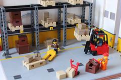 Warehouse life (Andrea Lattanzio) Tags: lego warehouse boxes truck trucks forklift shelves shelf depot garage workshop shop