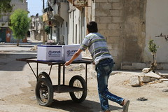 Delivering food aid to families in Aleppo (Ummah Welfare Trust) Tags: syria levant war poverty hunger children middle east        humanitarian humanitarianism islam muslims