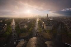 eau de Paris (Emanuele Serraino) Tags: paris france charlesdegaulle arcdetriomphe rain sunset emanueleserraino
