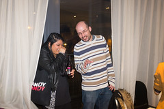 Asdghig and Ashley's party (Gary Kinsman) Tags: london bow e3 fairfieldroad fujix100t fujifilmx100t 2016 party houseparty night evening flash candid unposed laugh