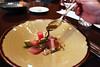 "Pouring the ""poke"" sauce (VanFoodies) Tags: eborestaurant burnaby deltaburnabyhotel grandvillacasino keithpears winepairing beefcarpaccio albacoretuna chicken salmon millefeuille freezie lamb heirloomtomato tastingmenu"