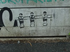 Sturmreihe (mkorsakov) Tags: dortmund nordstadt hafen graffiti stencil stromkasten kicker foosball sturm offense grau grey