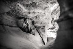 Cavegirl (aamith) Tags: cave moab utah blackandwhite 24mm sigmaart bnw bw monochrome girl kids