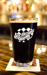 Ska Brewing (photographyguy) Tags: steeltoemilkstout milkstout beer skabrewing uptowndenver walterspizzeria walters303pizzeriaandpublikhouse bar craftbeer denver colorado glass pint brew stout bokeh