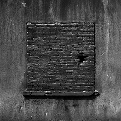 the most ineffective window in the history of time and space (RandomSalmon) Tags: travel asia china hangzhou bw black white street decay bricks dorty gritty grit filth filthy 6x6 square medium format hasselblad 500c kodak tmax 400 rodinal epson v700 analog analogue film