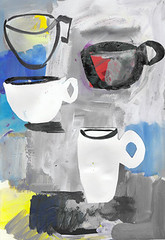 The odd coffee cup (amaradacer) Tags: painting coffee cup art figurative mixedmedia collage abstract black white red mug blue contemprary modern impression