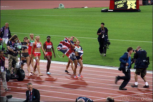Jessica Ennis after winning gold in the Women's Heptathlon!