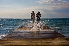 Fun In the Waves (V Photography and Art) Tags: beach wet boards waves wind jetty horizon croatia zadar crashing borik slihouettes veeste vphotographyandart