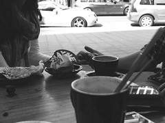 Kjrleik - Love (mie_norwegianbrunch) Tags: boy bw white black love cup coffee girl beauty cafe holding hands together fujifilm date muffin x10
