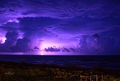 Purple Strike (S. R. Thomason Photography) Tags: beach water clouds sand long exposure purple lightning violent