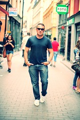 Steve Lundqvist (Steve Lundqvist) Tags: street travel summer portrait urban man sunglasses shirt nikon dof sweden stockholm steve tshirt jeans gamlastan viaggi vacanze 2012 stevelundqvist