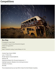 Aus Photography Comp! (Red Dog Photography) Tags: old longexposure sunset motion bus abandoned photoshop canon stars star twilight australia competition stack trail western vehicle wa karratha lunar wreckage westernaustralia stacked pilbara startrail 5dmkii 17to40l