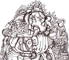 A PREY ON WORDS (Narolc) Tags: bw abstract art ink paper flickr drawing surreal prey visualart linear detailed involved sparklingheart sharingart narolc juliancloran