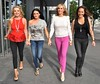 Roz Flanagan, Virginia Macari, Lisa Murphy and Jo Jordan outside the Gibson Hotel for the filming of the second series of TV3's 'Dublin Housewives' Dublin, Ireland