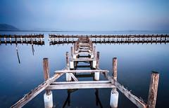 turf (helen sotiriadis) Tags: wood longexposure blue sea sky reflection texture canon landscape pier published greece waterscape canonefs1022mmf3545usm messolongi canoneos40d
