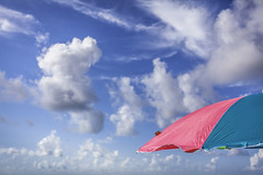 Fun To Fly (Mabry Campbell) Tags: morning pink blue sky usa galveston clouds umbrella photography coast us photo colorful texas photographer unitedstates image object tx unitedstatesofamerica fineart sunny august nopeople tags coastal photograph summertime 100 40mm umbrellas 2012 fineartphotography f40 architecturalphotography colorimage commercialphotography ef1740mmf4lusm architecturephotography galvestoncounty commonthing canoneos5dmarkii houstonphotographer sec makingshade mabrycampbell august172012 201208173740
