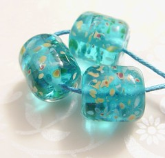 Greek Sands (Glittering Prize - Trudi) Tags: blue glass greek beads handmade barrel chub sands bohemian lampwork artisan glitteringprize