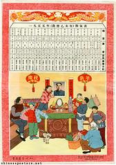 Joyfully celebrating New Year (chineseposters.net) Tags: china cat poster calendar propaganda chinese 1954 newyear mao lantern thermos peasant kang  maozedong