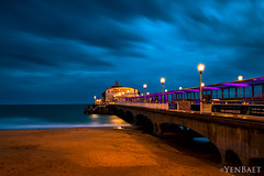 Bournemouth - Rainy Twilight at Bournemouth Pier (Yen Baet) Tags: city uk greatbritain trip travel vacation england beach architecture landscape photography coast pier photo europe european waterfront unitedkingdom britain dusk postcard scenic eu landmark icon structure promenade dorset british bluehour seafront picturesque bournemouth englishchannel purbeck waterscape bournemouthpier britons southwestengland yenbaet