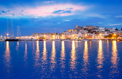 Ibiza island night view of Eivissa town (Angela_Rygg) Tags: ocean city travel blue sunset sea summer vacation sky urban white house holiday reflection building tourism church water beautiful architecture night port sunrise landscape boats island dawn lights evening harbor town spring spain colorful mediterranean ship cityscape village view hill scenic lifestyle landmark spanish ibiza destination touristic balearic