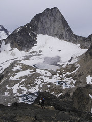 The Bugaboos - Eastpost Off Route Reward (Tideline to Alpine Photo, Idiosyncrasy Exemplified) Tags: camping sky snow mountains expedition clouds hiking spires glacier adventure climbing alpine mountaineering wilderness tarn scrambling alpinism bugaboos thebugs alpineclimbing bugaboospire morraines crescentglacier bugabooprovincialpark applebeecamp applebeedome eastpostspire snowpatchbugaboocol bugaboocrescentcol
