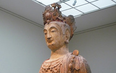 Bodhisattva, probably Avalokiteshvara (Guanyin), with detail of bust oblique